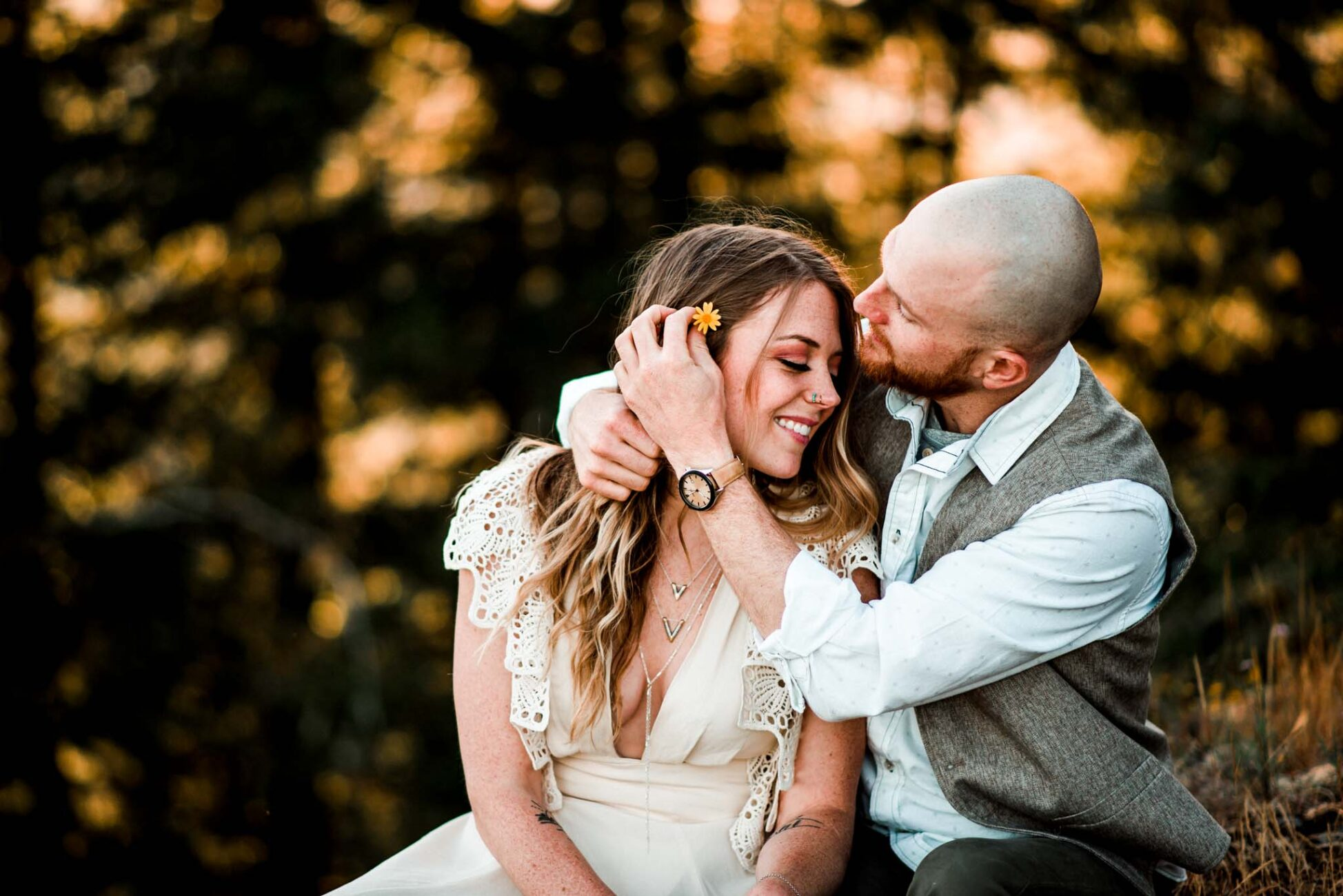 Golden hour Forest engagement pics near Detroit Lake Oregon by wedding photographer Dionne Kraus