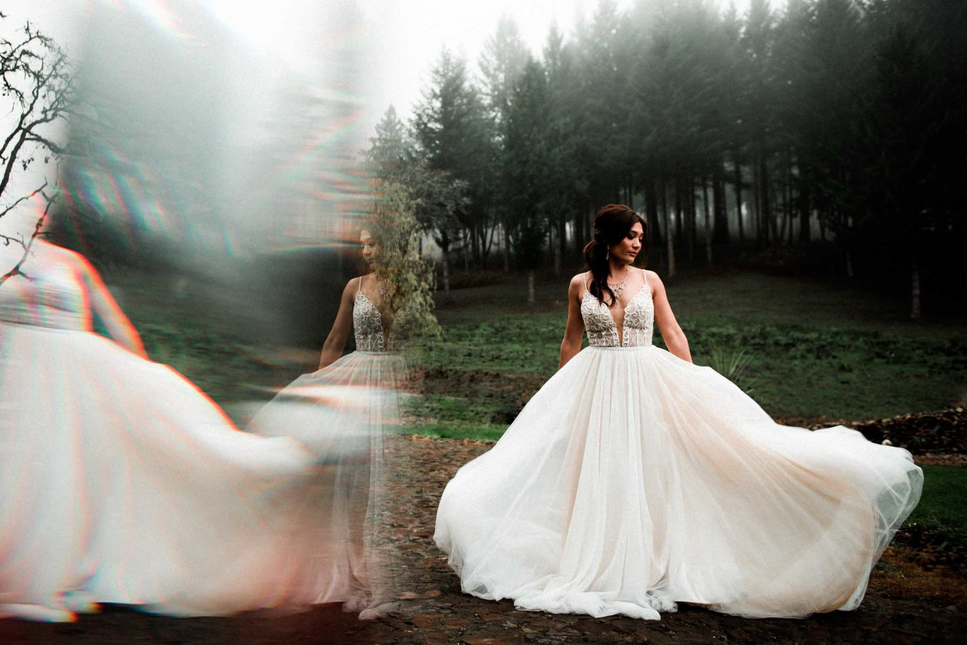 Moody and Foggy winter wedding with dancing bride outdoors in vineyard at Maysara Winery in McMinnville Oregon