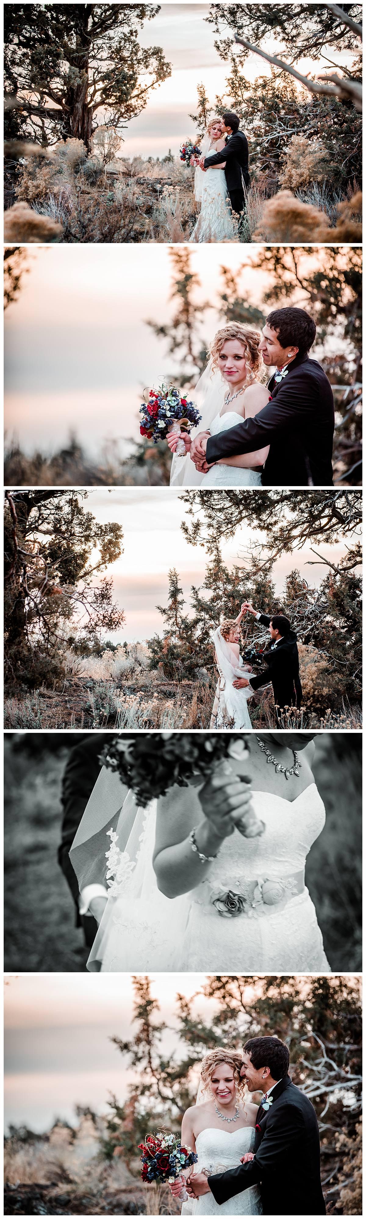 Couple portraits pronghorn resort Bend Oregon wedding photographs